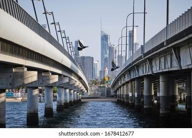 Surfers Paradise, QLD / Australia - Nov 29 2019: City view of Surfers Paradise and Q1 building with tourists over Sundale Bridge