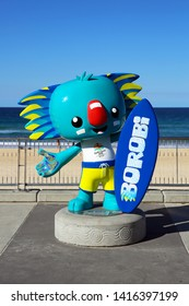 SURFERS PARADISE, QUEENSLAND, AUSTRALIA - 14 AUGUST 2018: Statue on the beach boardwalk at Surfers Paradise of Borobi who was the official mascot of the 2018 Commonwealth Games held on the Gold Coast.