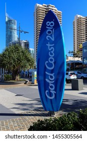 SURFERS PARADISE, QUEENSLAND, AUSTRALIA - 14 AUGUST 2018: The Esplanade at Surfers Paradise featuring an iconic Gold Coast Surfboard celebrating the 2018 Commonwealth Games.