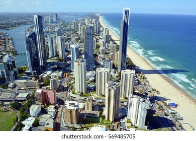 SURFERS PARADISE, QUEENSLAND, AUSTRALIA - DECEMBER 19, 2015. View over Surfers Paradise, with skyscrapers, commercial and residential buildings.