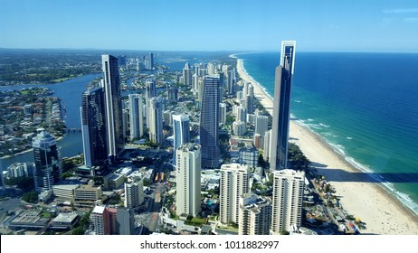 Surfers Paradise, Queensland, Australia - January 10, 2017 -  The view over the Gold Coast from the Q1 Observation Deck at Surfers Paradise