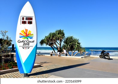 SURFERS PARADISE - SEP 30 2014:The Gold Coast Commonwealth Games 2018 countdown clock in surfers paradise promenade. It is the 5th time Australia host the Commonwealth  Games.