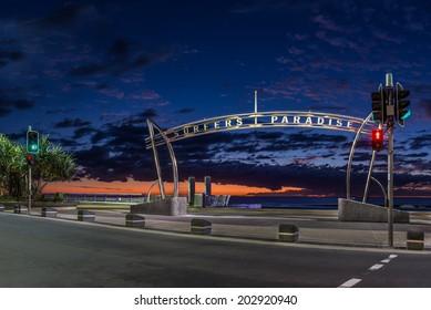 Surfers Paradise sign during sunrise, Gold Coast - Australia
