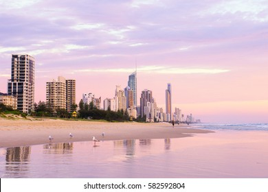Surfers Paradise skyline at sunrise on the Gold Coast in Queensland, Australia