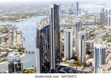 Surfers Paradise skyline views looking north towards Southport Gold Coast, from the top of the Q1 building.