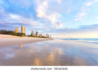 Surfers Paradise sunrise reflections on Queensland's Gold Coast in Australia