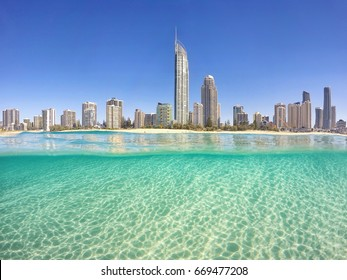Surfers Paradise from the water.