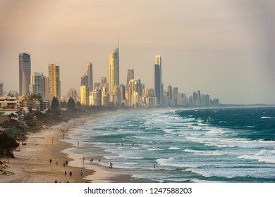 Surfers Paradise waterfront skyline as viewed from beach. Gold Coast, Australia.