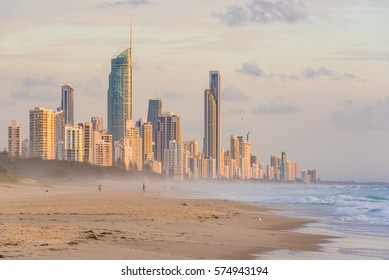 Surfers Paradise waterfront skyline as viewed from beach. Modern cityscape beach landscape