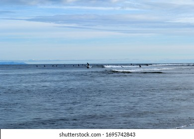 Surfers wait for a good wave out in the ocean at Surfrider Beach in Malibu California