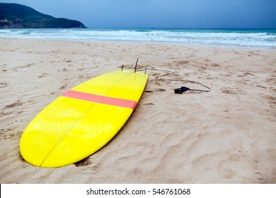 surfing board on the beach with ocean view nobody