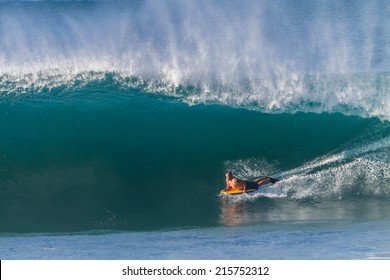 Surfing Body Boarding Large Wave Surfing rider body boarding large hollow ocean wave