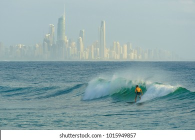 Surfing at Burleigh Heads, Gold Coast.
