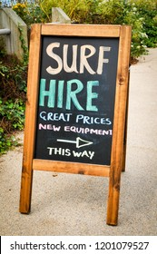 Surfing equipment for hire sign in Newquay, Cornwall
