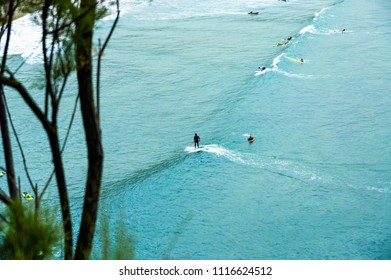 Surfing with longboard in Biarritz, France