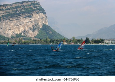Surfing on Lake Garda Italy, April 23 2017