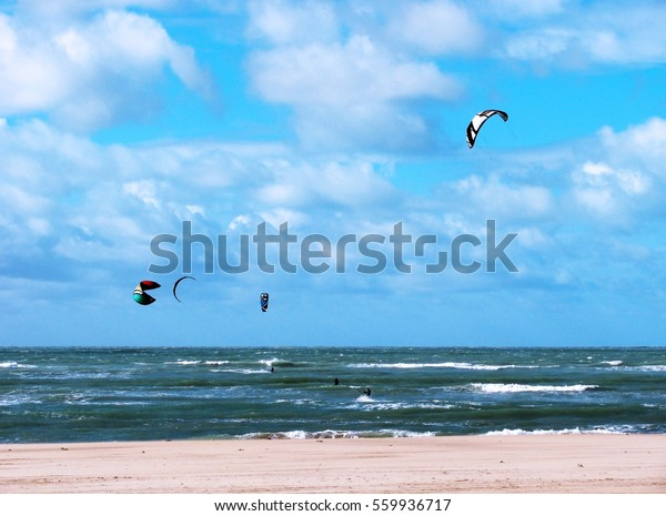 Surfing Sailing Windsurf Sky Clouds Sea Stock Photo Edit