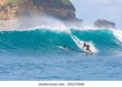 Surfing a Wave. Lombok Island. Indonesia.