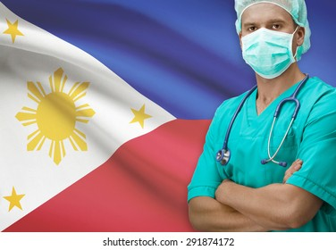 Surgeon with flag on background - Philippines