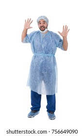 surgeon in sterile uniform, standing ready to operation, isolated on white background.