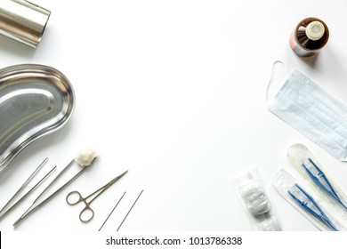 Surgeon, surgery table, doctor`s tools, medical instruments, therapist tonometer, blood pressure, work in hospital on white wooden background flat lay