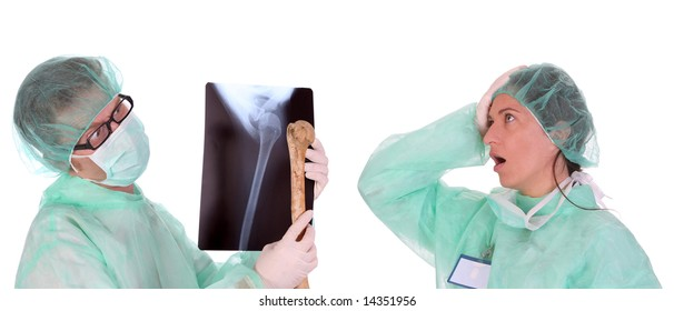 surgeon with xray and bone and shouting shocked healthcare worker