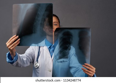 surgeon with X-ray hospital traumatology
