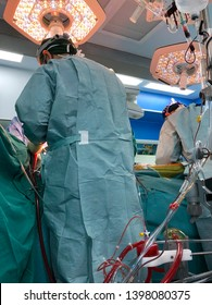 Surgeons are doing open heart surgery with cardiopulmonary bypass(CPB) support