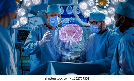 Surgeons Perform Brain Surgery Using Augmented Reality, Animated 3D Brain. High Tech Technologically Advanced Hospital. Futuristic Theme.