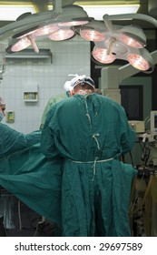 Surgeons at work in operating room,performed surgical action.