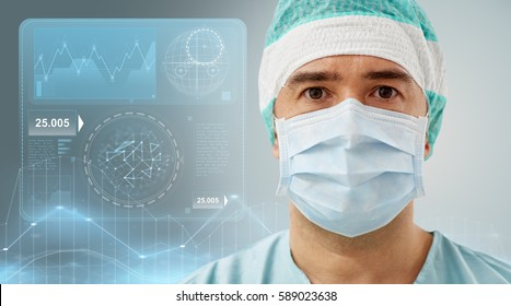 surgery, healthcare, medicine and people concept - surgeon in mask with diagram and virtual screen projection