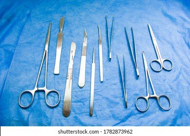 Surgery instruments table. Dissection Kit - Premium Quality Stainless Steel Tools for Medical Students of Anatomy.