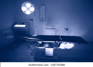 surgery room in the clinic / surgical department with an operating table in a modern medical clinic