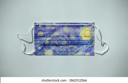 Surgical face mask with digital painting in impressionist starry sky and moon pattern print. Isolated on white background with drop shadows.