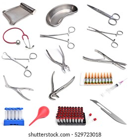 Surgical instruments isolated on white background