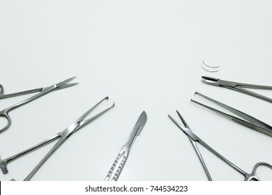 Surgical Instruments Isolated on the White Background