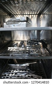Surgical Instruments on trays in autoclave