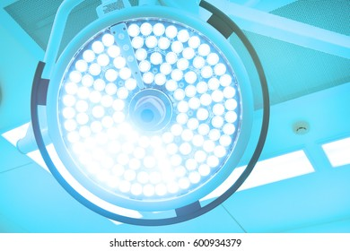 surgical lamps in operation room take with art lighting and blue filter
