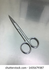 Surgical scissors is on the table