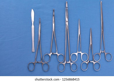 surgical tools on the table before the operation