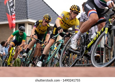 Surhuisterveen/The Netherlands - July 30th 2019: Steven Kruijswijk and Mike Teunissen, professional cyclists of the Jumbo Visma team, are taking part in the criterium of Surhuisterveen