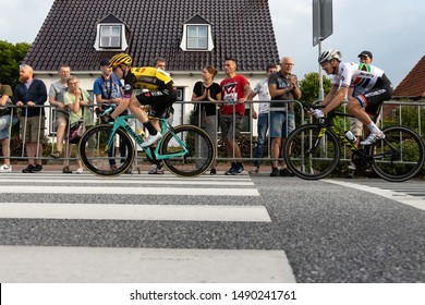 Surhuisterveen/The Netherlands - July 30th 2019: Steven Kruijswijk and Daryl Impey, professional cyclists, are taking part in the criterium of Surhuisterveen