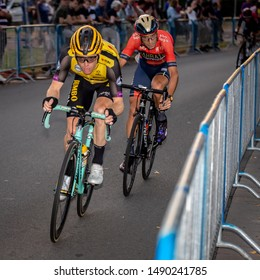 Surhuisterveen/The Netherlands - July 30th 2019: Steven Kruijswijk and Vincenzo Nibali, professional cyclists, are taking part in the criterium of Surhuisterveen