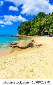 Surin beach, Paradise beach with golden sand, crystal water and palm trees, Patong area on Phuket Island, Tropical travel destination, Thailand