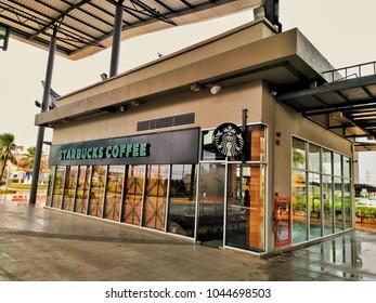 Surin, Thailand - 6 March 2018 : Starbucks Coffee logo at Robinson Surin.