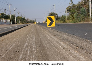 SURIN, THAILAND - JANUARY 20, 2015: Road construction in Thailand. Photo at road no 214 on JANUARY 20, 2015.