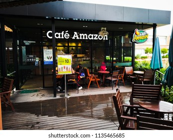 Surin / Thailand - July 16 , 2018 : Cafe Amazon beverage shop at  Surin hospital. It's a famous Thai franchise coffee shop in Thailand.