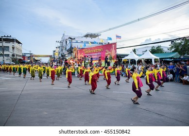 SURIN THAILAND - JULY 18, 2016: Surin candle procession and elephants-back almsgive festival 2016 The Festival features splendid processions of illuminated candles and elephants