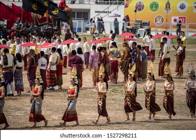 Surin, Thailand Nov 18, 2018 : Parade on Elephant's Back Festival is when elephants parade during The Annual Elephant Roundup on November 18, 2018 in Surin, Thailand