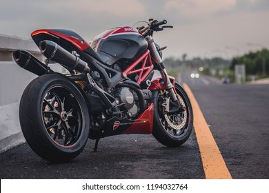 Surin, Thailand - October 3, 2018: The Ducati Monster 796 is on the road. Highway to visit the competition Moto GP 2018 in Buriram.